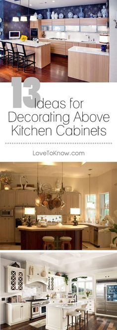 The space above kitchen cabinets is an ideal area to further decorate to give your kitchen greater design depth. | 13 Ideas for Decorating Above Kitchen Cabinets from #LoveToKnow