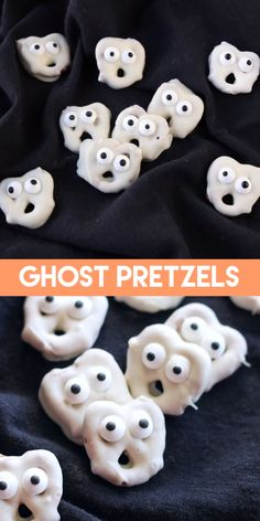 halloween cookies Ghost Pretzels White chocolate dipped pretzels are made into ghosts with candy eyes and a little bit of imagination. A fun and easy Halloween food craft for the kids! Entree Halloween, Dulces Halloween, Pasteles Halloween, Halloween Food Crafts, Dessert Halloween, Halloween Party Snacks, Fete Halloween, Halloween Goodies, Halloween Food For Party