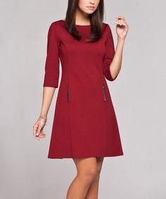 Another great find on #zulily! Burgundy Boatneck A-Line Dress #zulilyfinds