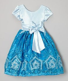 Love this Blue Sequin Bow A-Line Dress - Infant, Toddler & Girls on #zulily! #zulilyfinds