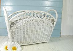 Vintage White Wicker Magazine Rack  Retro Hand by DivineOrders, $39.00