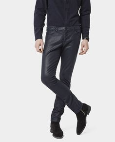The Kooples - Waxed 'Color Denim' slim fit jeans - Navy Blue