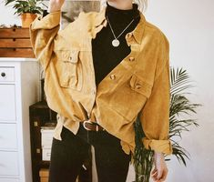 style / fashion / casual outfit idea / yellow jacket