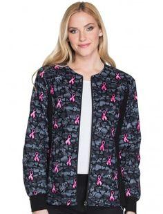 Zdravotnícke blúzy · Cherokee Flexibles Guard My Heart Breast Cancer  Awareness Warm-Up Jacket Nursing Jackets fb56bd8d295