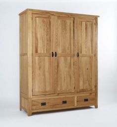 Westbury Reclaimed Oak Triple Wardrobe is crafted from the highest quality solid oak and given a satin lacquer protecting against wear and tear. Adorned with classically styled metal handles, this piece has dovetailed drawers and solid oak drawer bases making this a piece that is sure to last.