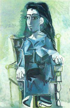 Jacqueline  au chat assise dans un fauteuil - Jacqueline with a cat sitting in a chair | Pablo Picasso 1964