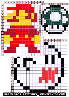 Print creative Super Mario Brothers patterns from www.PrinterKids.com - The cool retro styled Super Mario patterns are made for multiple creative options from HAMA perls ( perler ) to cross stitch and embroideries. You can even use the PrinterKids Mario patterns for building simple LEGO figures! The Super Mario Bros creative patterns have been digitalized and made available by Loke Hansen ( www.LokeHansen.com ) #perler #creative #pattern #mario #supermario #crossstitch #embroiderie