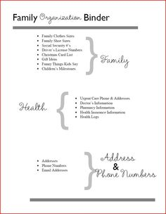Home Management Binder Table of Contents: Family, Health and Contact Information