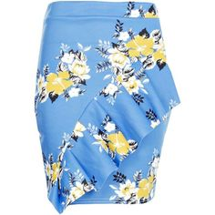 Boohoo Piah Oriental Floral Ruffle Front Mini Skirt (27 CAD) ❤ liked on Polyvore featuring skirts, mini skirts, blue pleated mini skirt, midi skirt, short maxi skirt, floral maxi skirt and short mini skirts