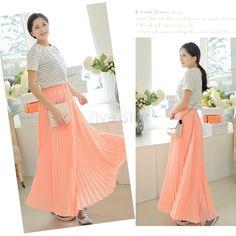 Mode plissé Maxi jupe longue taille haute bonbons couleur nouvelle 2015 été en mousseline de soie jupes femme femmes robes 12 dans Jupes de Accessoires et vêtements pour femmes sur AliExpress.com | Alibaba Group