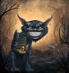 Cheshire Cat by yesiknowyoucan on DeviantArt Cheshire Cat Art, Cheshire Cat Tattoo, Cheshire Cat Alice In Wonderland, Fantasy Paintings, Fantasy Artwork, Joker Drawings, Creepy Cat, Psychedelic Drawings, Cute Cats Photos