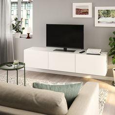 BESTÅ Tv-taso/ovet, valkoinen, Lappviken valkoinen, 180x42x38 cm - IKEA