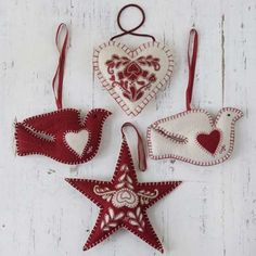 craftstuff:    (via Hand Embroidered Christmas Decoration Set - Red / Cream | Festive Christmas Decorations)