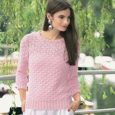 Розовый джемпер с ажурным узором