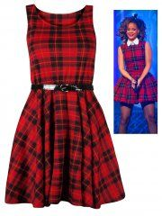 KarmaClothing Sleeveless Red Tartan Belted Skater Dress