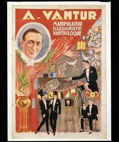 """"""".Lithographie en couleurs entoilée.100 x 71 cm.Affiches Nicolitch Marseille. Rue Marlin, 7.Magicien amateur, décédé à Nice en 1963, auteur et illustrateur des publications magiques du début du siècle."""