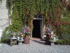Ballroom entrance with lots of wild flowers