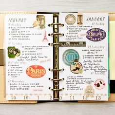 Week 4's planner pages, French vintage themed. I love these pretty stickers and tiny sticky notes from @geluk0193  #planner #plannerpages #filofax #organizer #notebook #agenda #diary #stickers #planning #washi #washitape #vintage #typography #type #handlettering #handwriting #VSCOcam #paris #hobonichi #mtn #midori #travelersnotebook