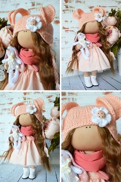 Tilda doll Interior doll Home doll Art doll handmade brown peach colors Textile doll Soft doll Fabric doll Cloth doll by Master Olga S.   Hello, dear visitors!  This is handmade cloth doll created by Master Olga S. (Karaganda, Kazakhstan). Doll is 25 cm (10.5 inch) tall and made of only quality materials.  This doll is made TO ORDER. You will receive almost exact same toy. Any changes are made upon agreement between Master and Buyer.  If you want to change something in this doll, before…