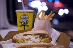 This hot dog does not look at all appealing to me, but it is from a diner, in a train, on sunset blvd, so I shall definitely be eating there.