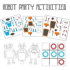 Robot birthday party activities... mix-and-match robot pieces to make your own robot, coloring pages, and tick-tack-toe!