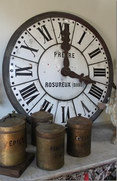 Vintage french clock and cannisters
