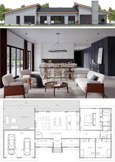 Home design plans - House Plan, Home Plans Three Bedroom House Plan, Family House Plans, New House Plans, House Floor Plans, Small Modern House Plans, Modern Small House Design, Green House Design, Modern Bungalow House Plans, U Shaped House Plans