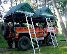 "Unimog Camper ~ Mik's Pics ""Unimog by Mercedes Benz"" board Top Tents, Roof Top Tent, Camping Gear, Outdoor Camping, Camping Places, Camping Glamping, Camping Equipment, Cool Trucks, Cool Cars"