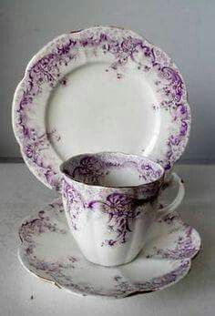Pretty purple and white set.