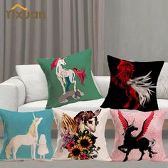 1 Pcs Throw Pillow Cover Unicorn Printed Linen Square Cushion Cover Sofa Soft Decoration Home Living 43cm x 43cm Animal Printing