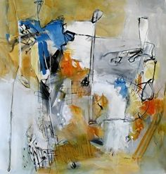 """Something's in the Water by Jinnie May Mixed Medium ~ 36"""" x 36"""""""