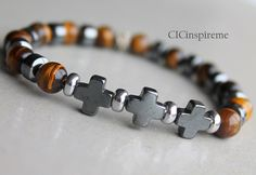 Men's Tiger eye and Hematite Cross Bracelet by CICinspireme, $27.00 #fathersdaygift
