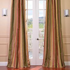 Half Price Drapes Faux Silk Taffeta Stripe Rod Pocket Curtain Panel & Reviews | Wayfair