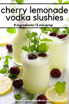 Cherry Lemonade Vodka Slushies are a refreshing summer treat made with lemonade and cherry vodka. Perfect for hot summer days! Low Calorie Cocktails, Healthy Cocktails, Summer Cocktails, Vodka Slush Recipe, Vodka Slushies, Cocktail Recipes For A Crowd, Cherry Lemonade, Cherry Vodka Drinks, Smoothie Recipes