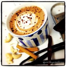 Quirky Cooking: Chocolate Chilli Chai {dairy free}, Use Rooibos tea Raw Food Recipes, Sweet Recipes, Yummy Recipes, Healthy Recipes, Yummy Drinks, Yummy Food, Healthy Drinks, Smoothie Drinks, Smoothies