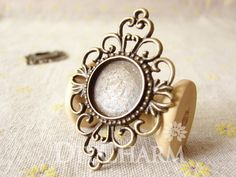 Antique Bronze Cameo Cabochon Base Settings 53x37mm ( Inner Size 18x18mm ) - 5Pcs - DS23650