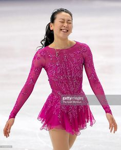 Mao Asada of Japan reacts after competing in the Ladies Singles Short Program during Day 4 of the ISU World Figure Skating Championships 2016 at TD Garden on March 2016 in Boston, Massachusetts. Ice Dance Dresses, Ice Skating Dresses, Figure Skating Outfits, Figure Skating Costumes, Japanese Figure Skater, World Figure Skating Championships, Skateboard Girl, Surf Girls, Little Girl Dresses