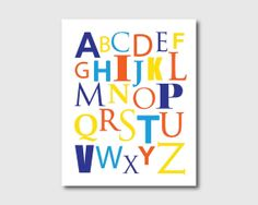 Kid's Wall Art  Modern Alphabet  Colorful by SusanNewberryDesigns, $15.00