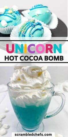 This fun unicorn hot cocoa bombs recipe is sure to be a perfect addition to your winter drink menu! Ideal for kids and easy to make! This unicorn hot cocoa recipe is always a hit and a perfect idea for a unicorn party treat! Hot Chocolate Gifts, Chocolate Bomb, Hot Chocolate Bars, Hot Chocolate Recipes, Hot Cocoa Recipe, Cocoa Recipes, Bombe Recipe, Hot Cocoa Mixes, Winter Drinks