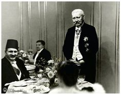 H.M. King Fuad I with German President Paul von Hindenburg at Leisure In a Dining Hall - Berlin In December 1932.