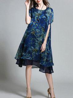 Pretty Floral Plus Size Short Sleeve Round Neck Midi Dress – oshoplive