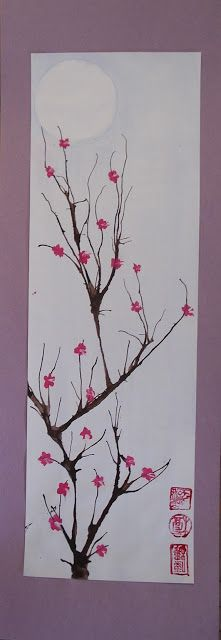 According to this blog, watered-down tempera paint can be used in place of ink to blow through the straw to make cherry blossom tree branches. Definitely trying that this year!