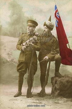 'Comrades at Arms' British and Indian troops fighting together during WWI. © Mary Evans/Grenville Collins Postcard Collection.