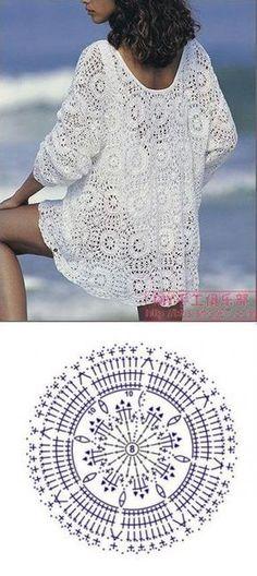 Crochet Lace Poncho Shirts 47 New Ideas T-shirt Au Crochet, Cardigan Au Crochet, Beau Crochet, Pull Crochet, Crochet Motifs, Crochet Jacket, Crochet Diagram, Crochet Woman, Crochet Cardigan