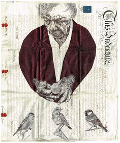 Mark Powell - elderly person holding a flower, and birds sitting on twigs - ballpoint pen art