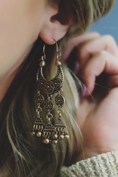 Etched Crescent Moon Boho Statement Earrings