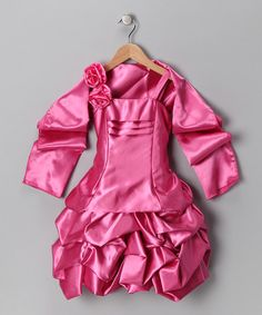 Take a look at this Pink Rosette Satin Pickup Dress & Shawl - Toddler & Girls by Chic Baby on #zulily today!