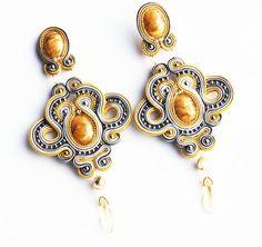 Statement soutache elegant earrings yellow grey gold
