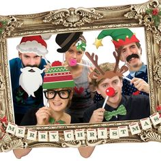 Festive Christmas Photo Booth Large Picture Frame & 22 Props Funny Party Fun