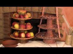 Ваза для фруктов трехъярусная. Плетение из газетных трубочек | oblacco